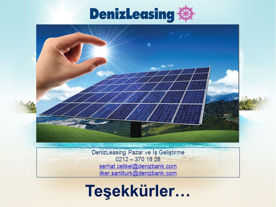 DenizLeasing Pazar ve İş Geliştirme 0212 – 370 18 28 serhat.celikel@denizbank.com ilker.sanliturk@denizbank.com