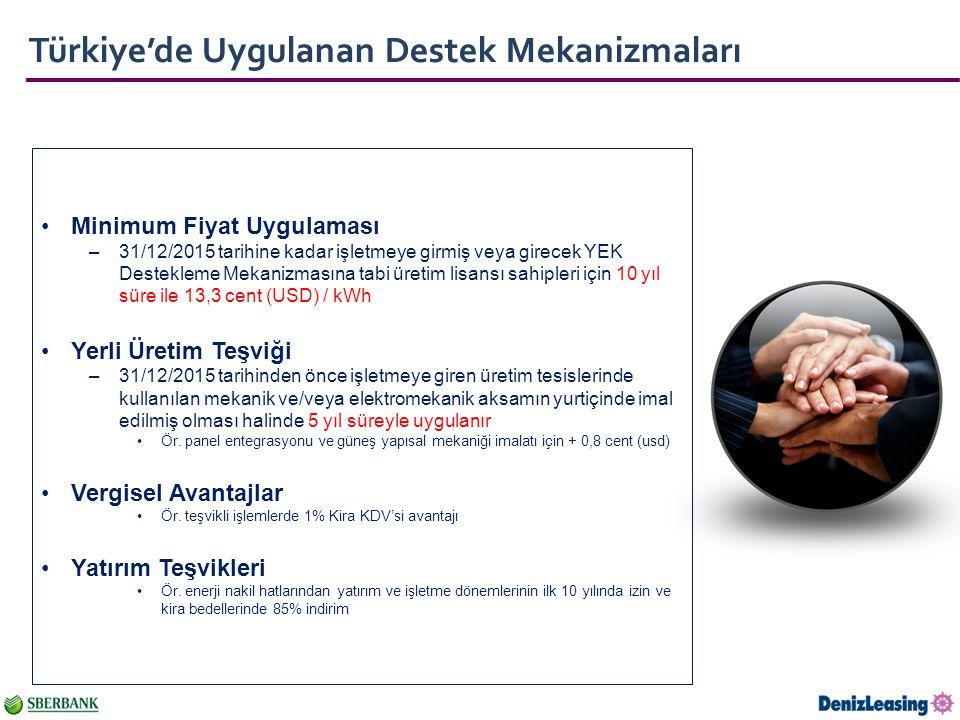 Türkiye'de Uygulanan Destek Mekanizmaları Minimum Fiyat Uygulaması –31/12/2015 tarihine kadar işletmeye girmiş veya girecek YEK Destekleme Mekanizmasına tabi üretim lisansı sahipleri için 10 yıl süre ile 13,3 cent (USD) / kWh Yerli Üretim Teşviği –31/12/2015 tarihinden önce işletmeye giren üretim tesislerinde kullanılan mekanik ve/veya elektromekanik aksamın yurtiçinde imal edilmiş olması halinde 5 yıl süreyle uygulanır Ör.