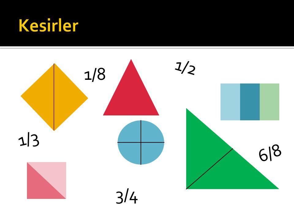  Bir bütünün e ş parçalarını gösteren a/b ş eklinde yazılabilen ifadelere kesir denir.