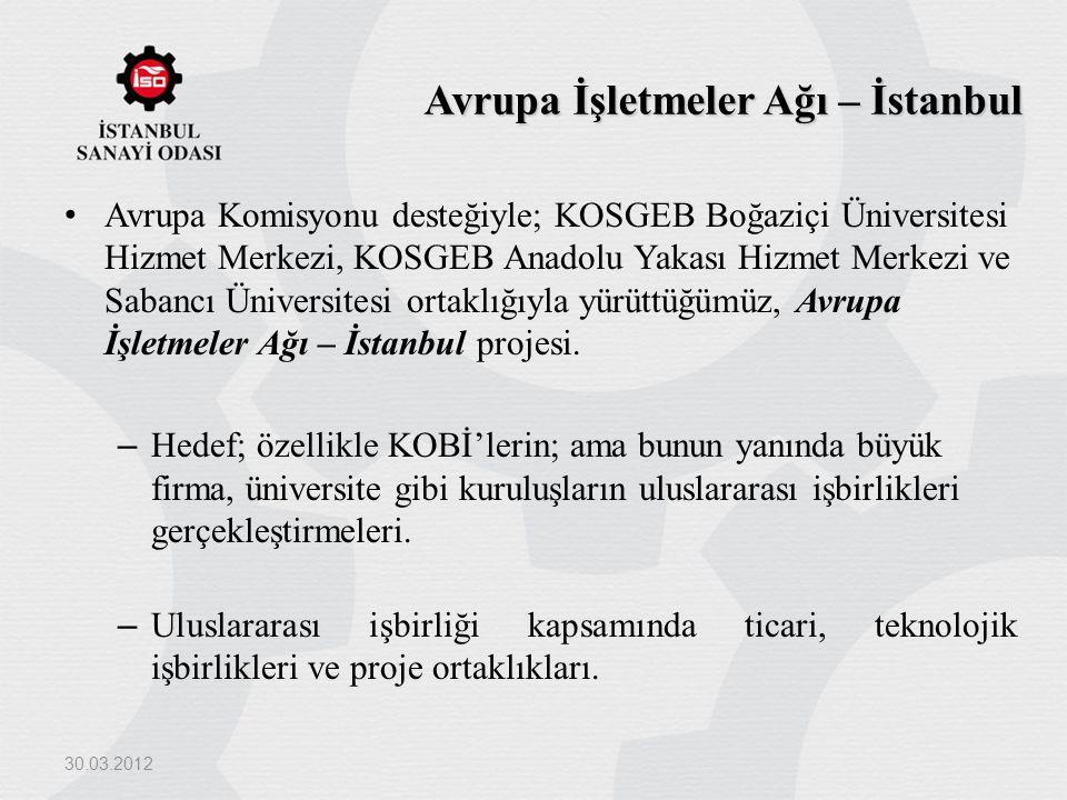 Avrupa İşletmeler Ağı – İstanbul Avrupa Komisyonu desteğiyle; KOSGEB Boğaziçi Üniversitesi Hizmet Merkezi, KOSGEB Anadolu Yakası Hizmet Merkezi ve Sab
