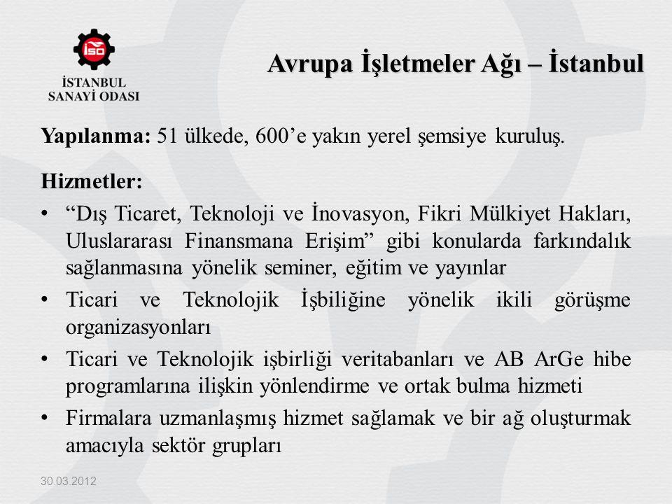 """Avrupa İşletmeler Ağı – İstanbul Yapılanma: 51 ülkede, 600'e yakın yerel şemsiye kuruluş. Hizmetler: """"Dış Ticaret, Teknoloji ve İnovasyon, Fikri Mülki"""