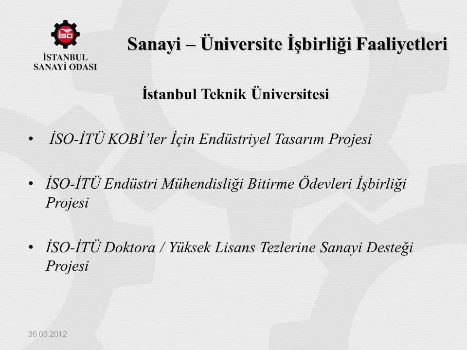 Sanayi – Üniversite İşbirliği Faaliyetleri İstanbul Teknik Üniversitesi İSO-İTÜ KOBİ'ler İçin Endüstriyel Tasarım Projesi İSO-İTÜ Endüstri Mühendisliğ