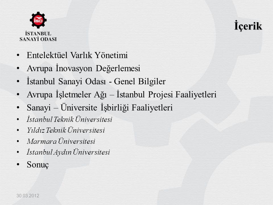 İçerik Entelektüel Varlık Yönetimi Avrupa İnovasyon Değerlemesi İstanbul Sanayi Odası - Genel Bilgiler Avrupa İşletmeler Ağı – İstanbul Projesi Faaliy
