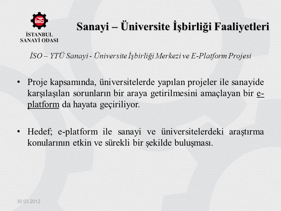 Sanayi – Üniversite İşbirliği Faaliyetleri İSO – YTÜ Sanayi - Üniversite İşbirliği Merkezi ve E-Platform Projesi Proje kapsamında, üniversitelerde yap