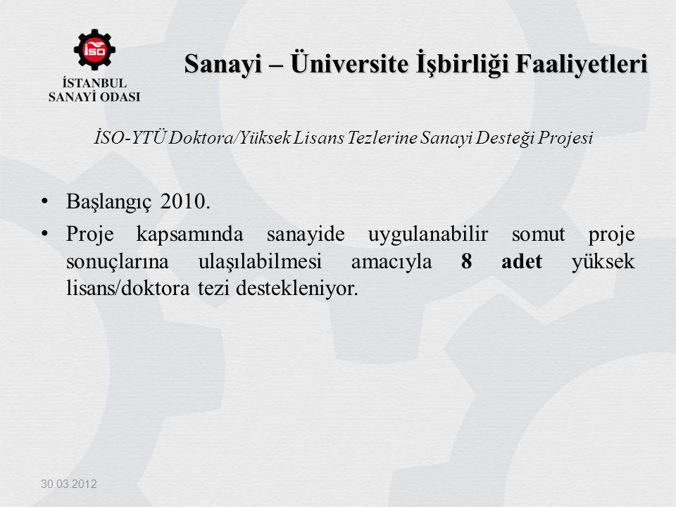 Sanayi – Üniversite İşbirliği Faaliyetleri İSO-YTÜ Doktora/Yüksek Lisans Tezlerine Sanayi Desteği Projesi Başlangıç 2010. Proje kapsamında sanayide uy