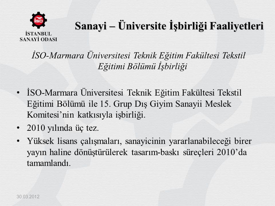 Sanayi – Üniversite İşbirliği Faaliyetleri İSO-Marmara Üniversitesi Teknik Eğitim Fakültesi Tekstil Eğitimi Bölümü İşbirliği İSO-Marmara Üniversitesi