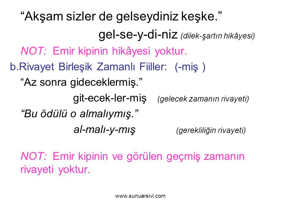 """www.sunuarsivi.com """"Akşam sizler de gelseydiniz keşke."""" gel-se-y-di-niz (dilek-şartın hikâyesi) NOT: Emir kipinin hikâyesi yoktur. b.Rivayet Birleşik"""