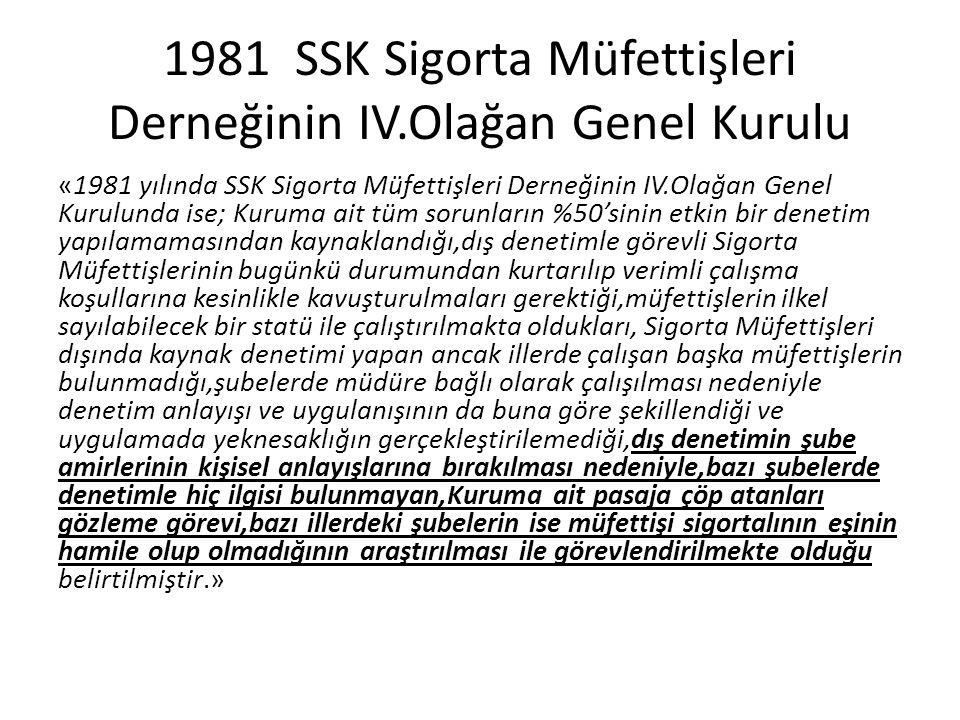 1981 SSK Sigorta Müfettişleri Derneğinin IV.Olağan Genel Kurulu «1981 yılında SSK Sigorta Müfettişleri Derneğinin IV.Olağan Genel Kurulunda ise; Kurum