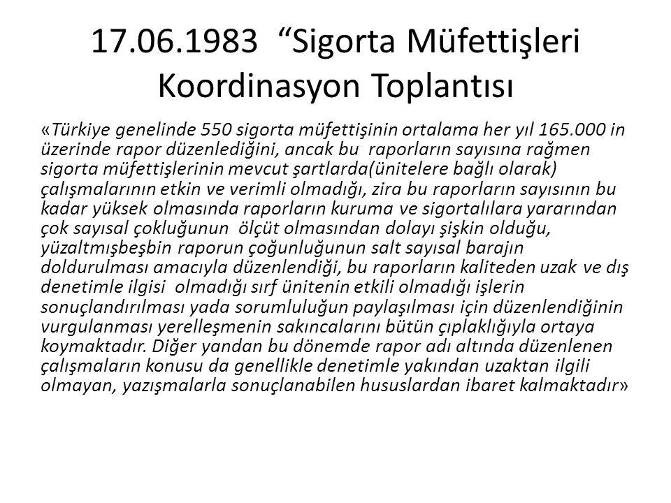 """17.06.1983 """"Sigorta Müfettişleri Koordinasyon Toplantısı «Türkiye genelinde 550 sigorta müfettişinin ortalama her yıl 165.000 in üzerinde rapor düzenl"""