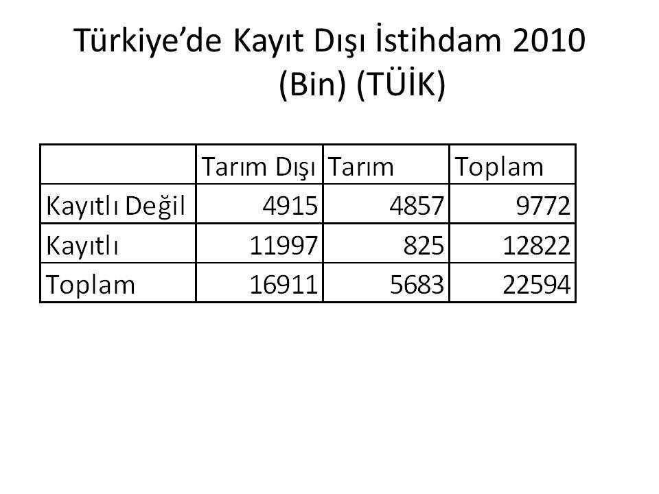 Türkiye'de Kayıt Dışı İstihdam 2010 (Bin) (TÜİK)
