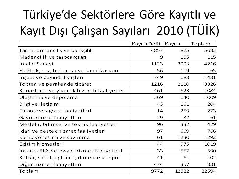 Türkiye'de Sektörlere Göre Kayıtlı ve Kayıt Dışı Çalışan Sayıları 2010 (TÜİK)