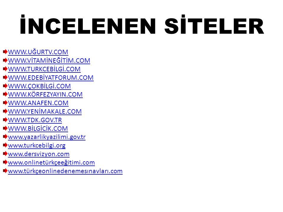 İNCELENEN SİTELER WWW.UĞURTV.COM WWW.VİTAMİNEĞİTİM.COM WWW.TURKCEBİLGİ.COM WWW.EDEBİYATFORUM.COM WWW.ÇOKBİLGİ.COM WWW.KÖRFEZYAYIN.COM WWW.ANAFEN.COM WWW.YENİMAKALE.COM WWW.TDK.GOV.TR WWW.BİLGİCİK.COM www.yazarlikyazilimi.gov.tr www.turkcebilgi.org www.dersvizyon.com www.onlinetürkçeeğitimi.com www.türkçeonlinedenemesınavları.com