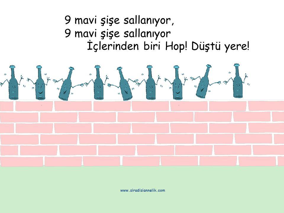 9 mavi şişe sallanıyor, 9 mavi şişe sallanıyor İçlerinden biri Hop! Düştü yere! www.siradisiannelik.com