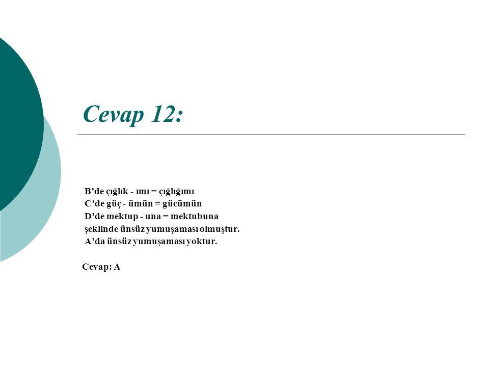 Cevap 12: B'de çığlık - ımı = çığlığımı C'de güç - ümün = gücümün D'de mektup - una = mektubuna şeklinde ünsüz yumuşaması olmuştur.