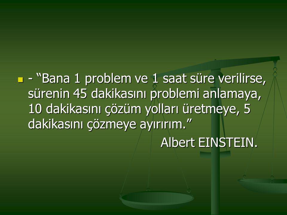 """- """"Bana 1 problem ve 1 saat süre verilirse, sürenin 45 dakikasını problemi anlamaya, 10 dakikasını çözüm yolları üretmeye, 5 dakikasını çözmeye ayırır"""