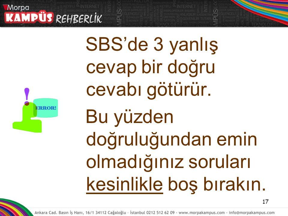 SBS'de 3 yanlış cevap bir doğru cevabı götürür. Bu yüzden doğruluğundan emin olmadığınız soruları kesinlikle boş bırakın. 17