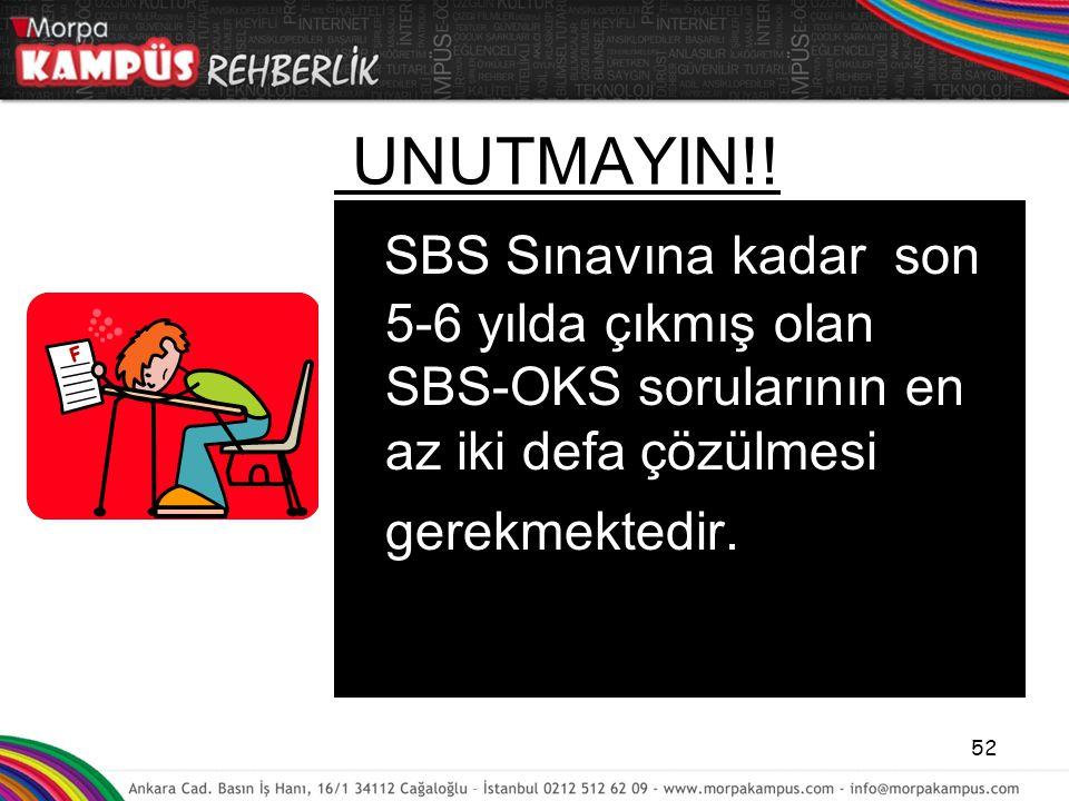 UNUTMAYIN!! SBS Sınavına kadar son 5-6 yılda çıkmış olan SBS-OKS sorularının en az iki defa çözülmesi gerekmektedir. 52