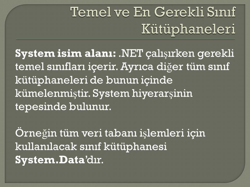 System isim alanı:.NET çalı ş ırken gerekli temel sınıfları içerir. Ayrıca di ğ er tüm sınıf kütüphaneleri de bunun içinde kümelenmi ş tir. System hiy