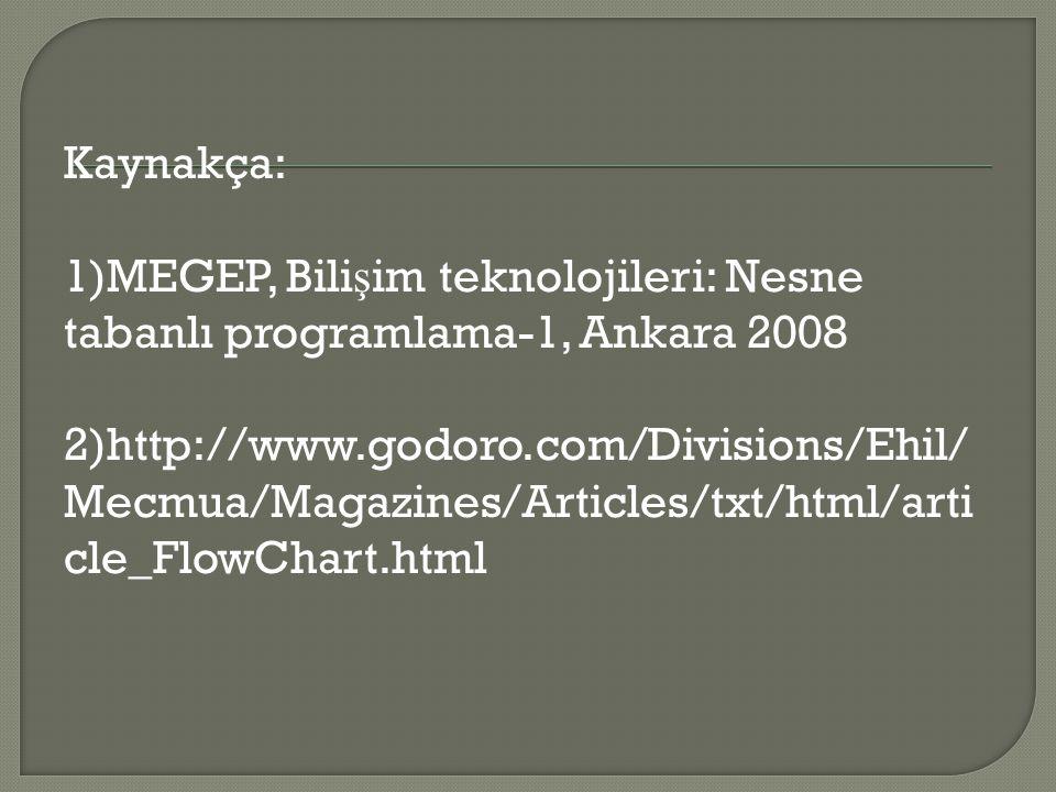 Kaynakça: 1)MEGEP, Bili ş im teknolojileri: Nesne tabanlı programlama-1, Ankara 2008 2)http://www.godoro.com/Divisions/Ehil/ Mecmua/Magazines/Articles