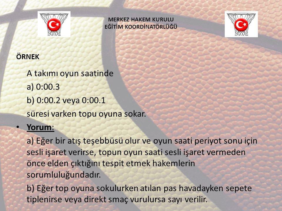 MERKEZ HAKEM KURULU EĞİTİM KOORDİNATÖRLÜĞÜ A takımı oyun saatinde a) 0:00.3 b) 0:00.2 veya 0:00.1 süresi varken topu oyuna sokar. Yorum: a) Eğer bir a