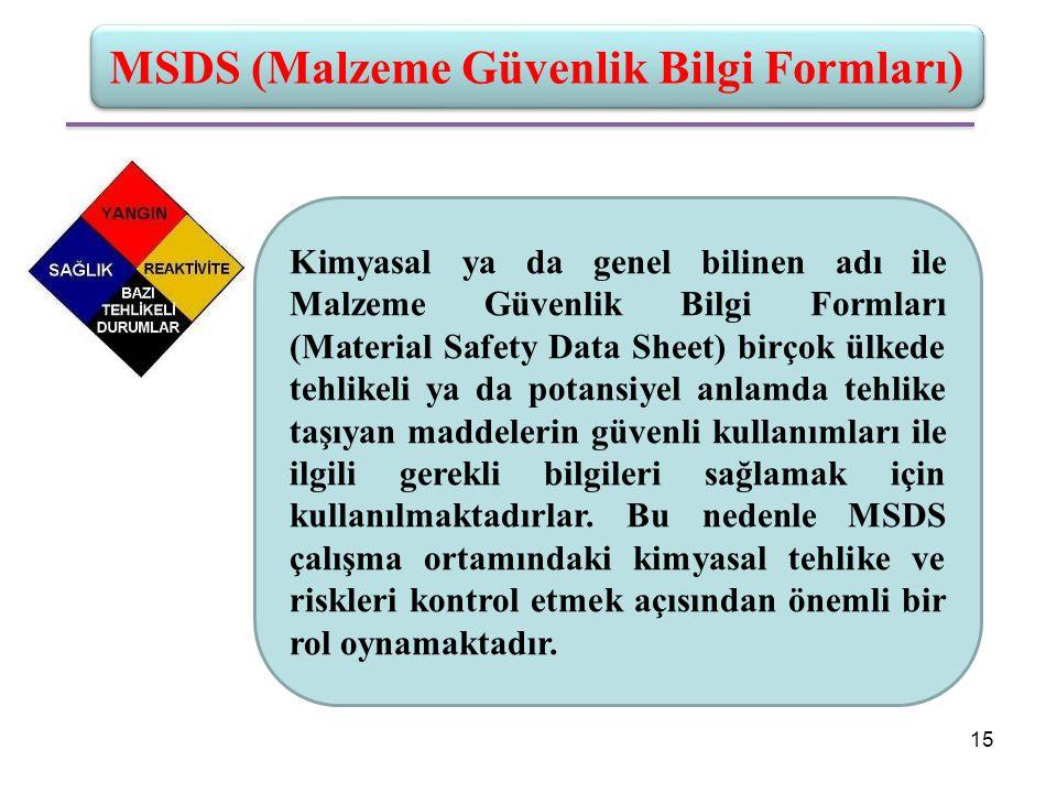 MSDS (Malzeme Güvenlik Bilgi Formları) Kimyasal ya da genel bilinen adı ile Malzeme Güvenlik Bilgi Formları (Material Safety Data Sheet) birçok ülkede