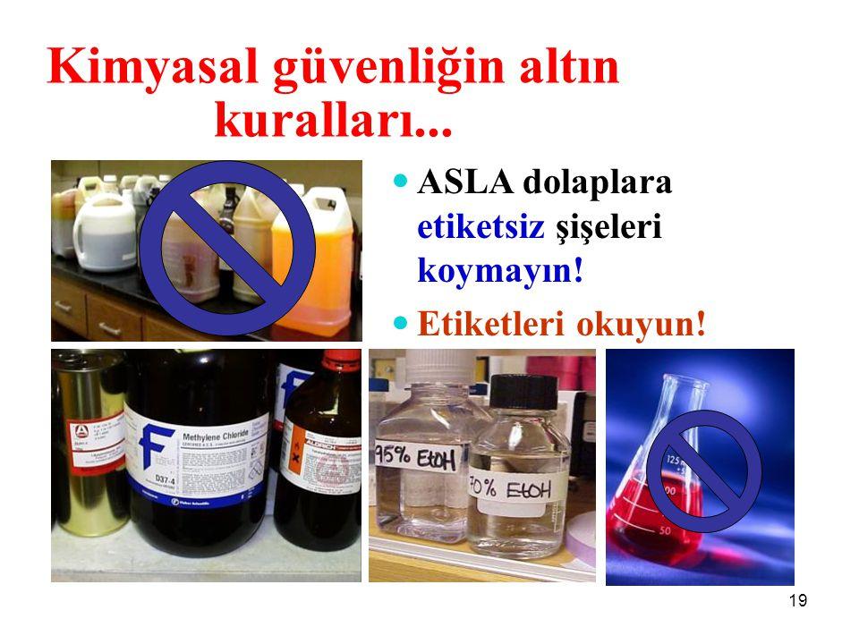 ASLA dolaplara etiketsiz şişeleri koymayın! Etiketleri okuyun! Kimyasal güvenliğin altın kuralları... 19