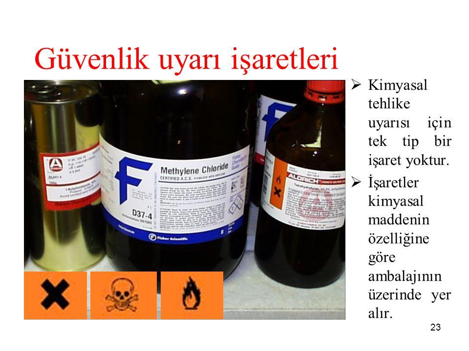 Güvenlik uyarı işaretleri  Kimyasal tehlike uyarısı için tek tip bir işaret yoktur.  İşaretler kimyasal maddenin özelliğine göre ambalajının üzerind