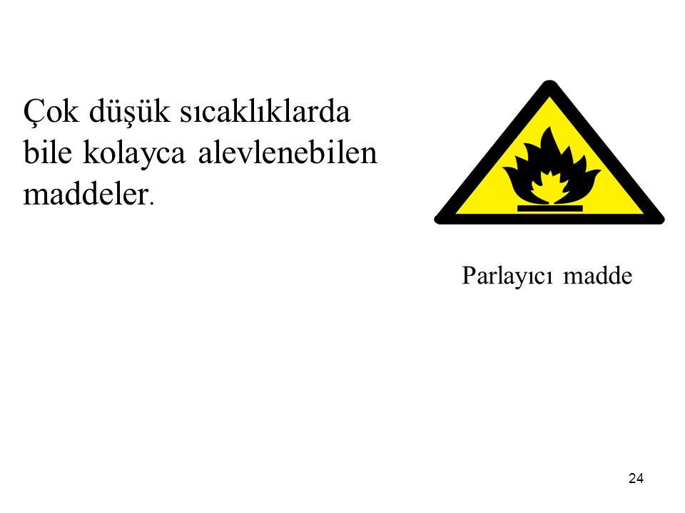 24 Parlayıcı madde Çok düşük sıcaklıklarda bile kolayca alevlenebilen maddeler.