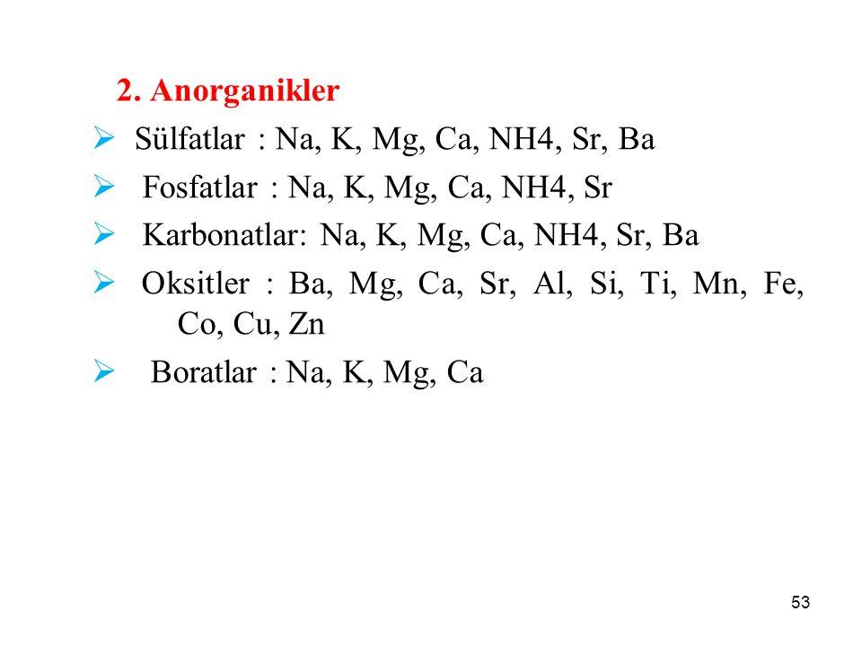 2. Anorganikler  Sülfatlar : Na, K, Mg, Ca, NH4, Sr, Ba  Fosfatlar : Na, K, Mg, Ca, NH4, Sr  Karbonatlar: Na, K, Mg, Ca, NH4, Sr, Ba  Oksitler : B