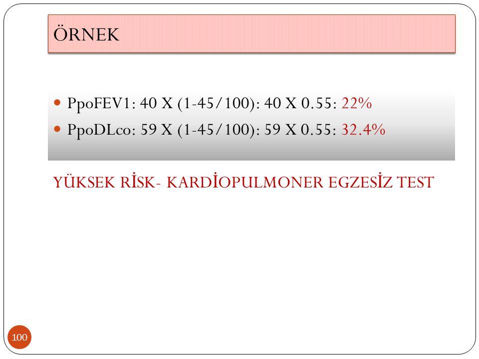 ÖRNEK 100 PpoFEV1: 40 X (1-45/100): 40 X 0.55: 22% PpoDLco: 59 X (1-45/100): 59 X 0.55: 32.4% YÜKSEK R İ SK- KARD İ OPULMONER EGZES İ Z TEST