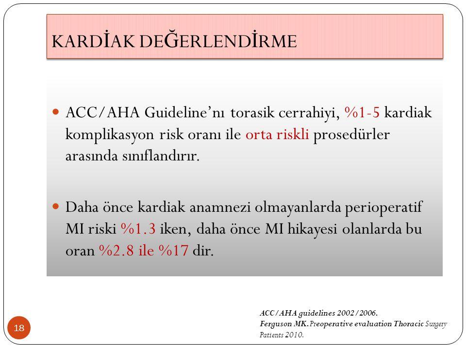 18 ACC/AHA Guideline'nı torasik cerrahiyi, %1-5 kardiak komplikasyon risk oranı ile orta riskli prosedürler arasında sınıflandırır.