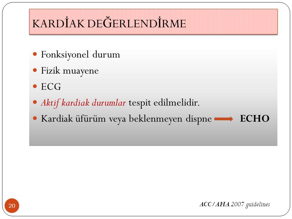 KARD İ AK DE Ğ ERLEND İ RME 20 Fonksiyonel durum Fizik muayene ECG Aktif kardiak durumlar tespit edilmelidir. Kardiak üfürüm veya beklenmeyen dispne E