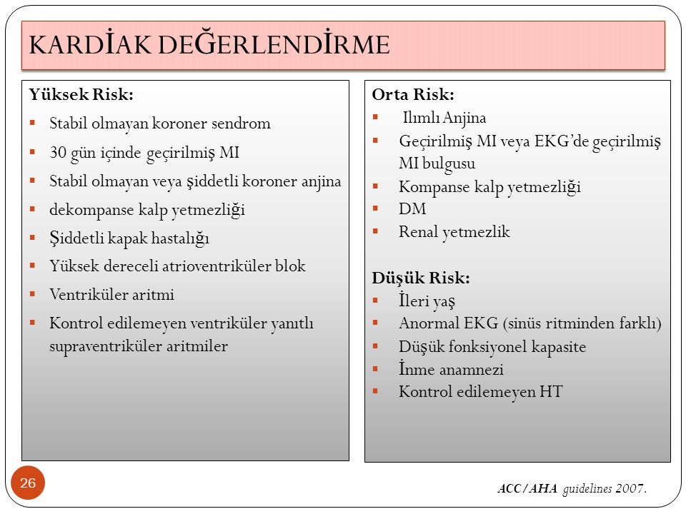 KARD İ AK DE Ğ ERLEND İ RME 26 Yüksek Risk:  Stabil olmayan koroner sendrom  30 gün içinde geçirilmi ş MI  Stabil olmayan veya ş iddetli koroner anjina  dekompanse kalp yetmezli ğ i  Ş iddetli kapak hastalı ğ ı  Yüksek dereceli atrioventriküler blok  Ventriküler aritmi  Kontrol edilemeyen ventriküler yanıtlı supraventriküler aritmiler ACC/AHA guidelines 2007.