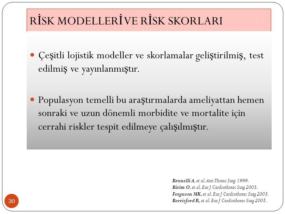 R İ SK MODELLER İ VE R İ SK SKORLARI 30 Çe ş itli lojistik modeller ve skorlamalar geli ş tirilmi ş, test edilmi ş ve yayınlanmı ş tır.