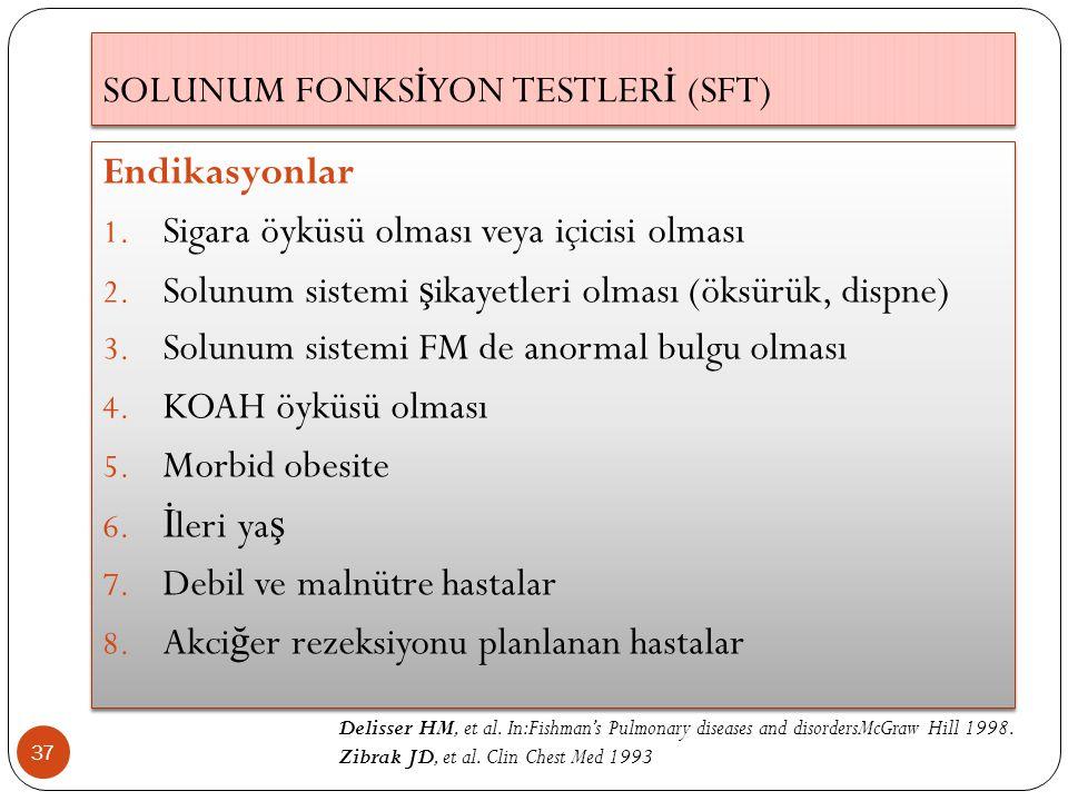 SOLUNUM FONKS İ YON TESTLER İ (SFT) 37 Endikasyonlar 1. Sigara öyküsü olması veya içicisi olması 2. Solunum sistemi ş ikayetleri olması (öksürük, disp