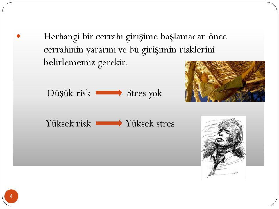 4 Herhangi bir cerrahi giri ş ime ba ş lamadan önce cerrahinin yararını ve bu giri ş imin risklerini belirlememiz gerekir. Dü ş ük risk Stres yok Yüks