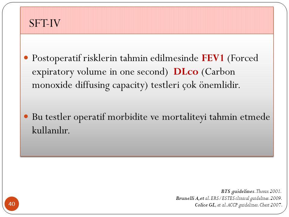 SFT-IV 40 Postoperatif risklerin tahmin edilmesinde FEV1 (Forced expiratory volume in one second) DLco (Carbon monoxide diffusing capacity) testleri çok önemlidir.