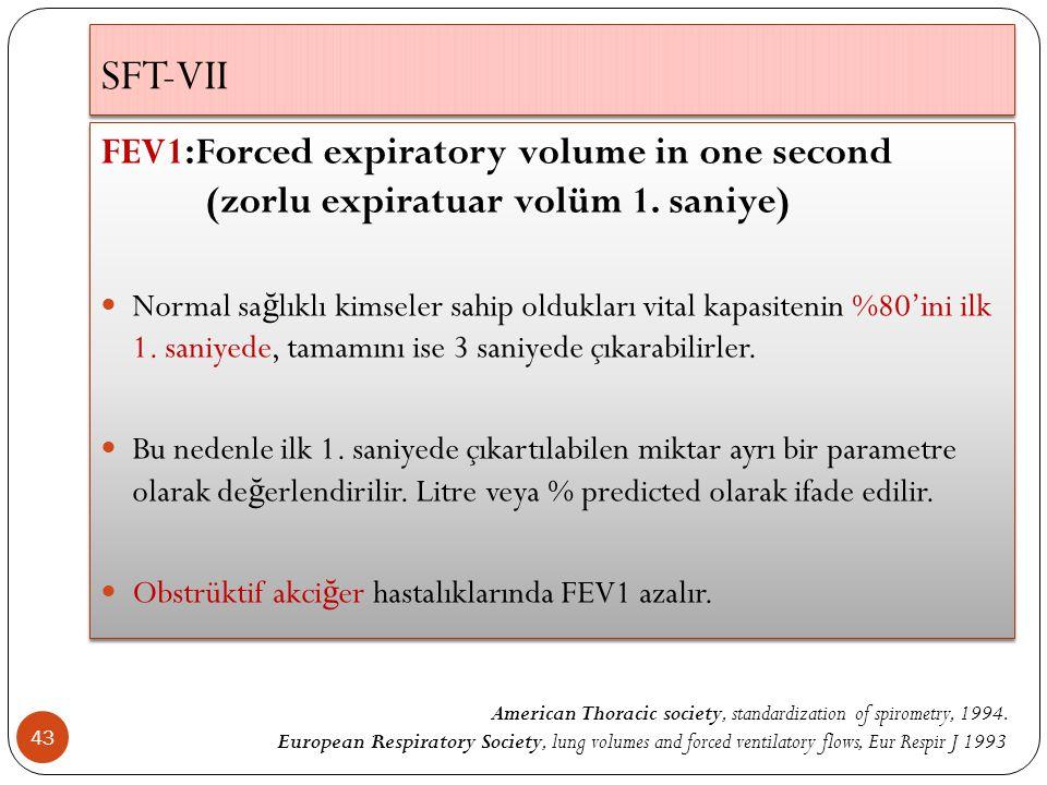 SFT-VII 43 FEV1:Forced expiratory volume in one second (zorlu expiratuar volüm 1. saniye) Normal sa ğ lıklı kimseler sahip oldukları vital kapasitenin