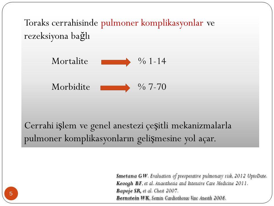 5 Toraks cerrahisinde pulmoner komplikasyonlar ve rezeksiyona ba ğ lı Mortalite % 1-14 Morbidite % 7-70 Cerrahi i ş lem ve genel anestezi çe ş itli mekanizmalarla pulmoner komplikasyonların geli ş mesine yol açar.