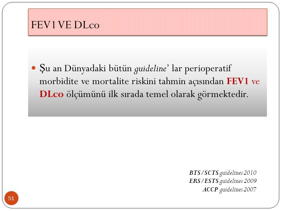 FEV1 VE DLco 51 Ş u an Dünyadaki bütün guideline' lar perioperatif morbidite ve mortalite riskini tahmin açısından FEV1 ve DLco ölçümünü ilk sırada temel olarak görmektedir.