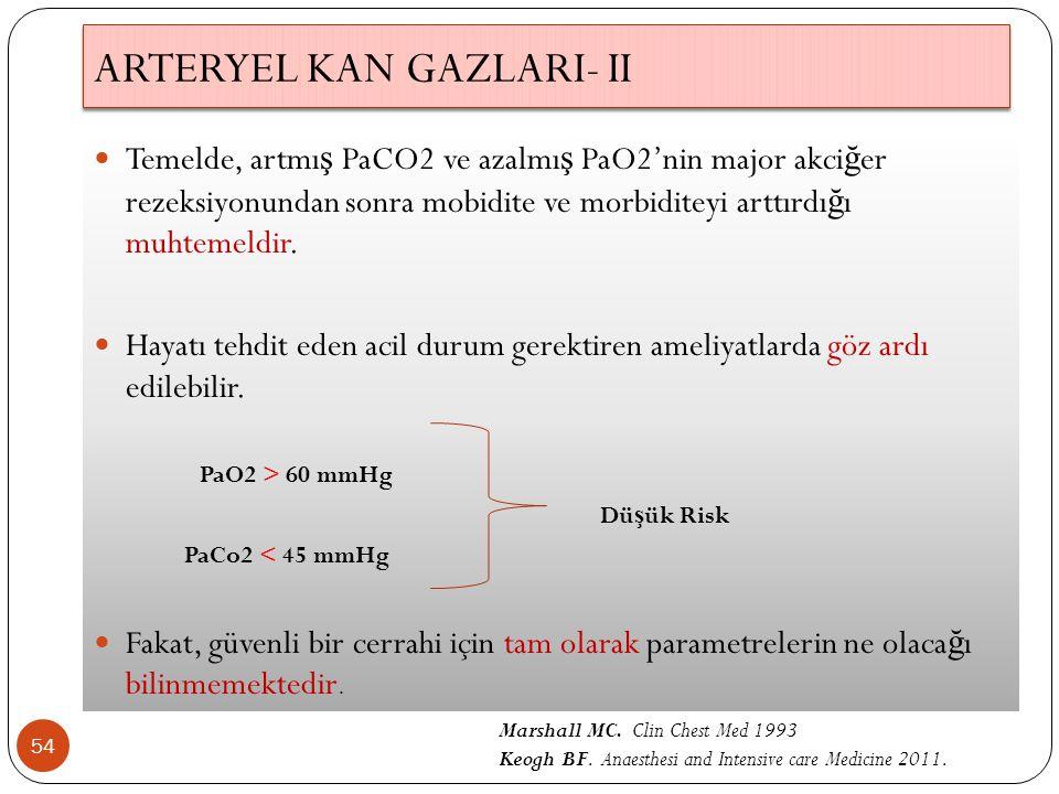 ARTERYEL KAN GAZLARI- II 54 Temelde, artmı ş PaCO2 ve azalmı ş PaO2'nin major akci ğ er rezeksiyonundan sonra mobidite ve morbiditeyi arttırdı ğ ı muhtemeldir.