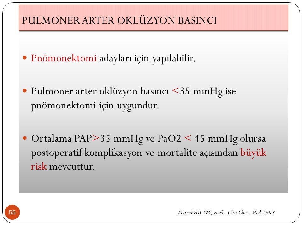 PULMONER ARTER OKLÜZYON BASINCI 55 Pnömonektomi adayları için yapılabilir. Pulmoner arter oklüzyon basıncı <35 mmHg ise pnömonektomi için uygundur. Or