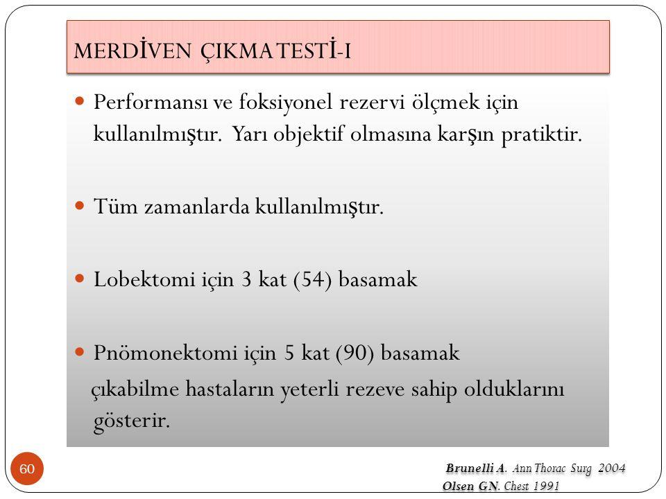 MERD İ VEN ÇIKMA TEST İ -I 60 Performansı ve foksiyonel rezervi ölçmek için kullanılmı ş tır.