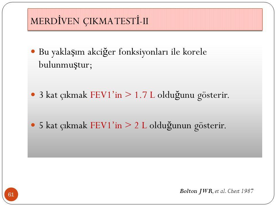 61 Bu yakla ş ım akci ğ er fonksiyonları ile korele bulunmu ş tur; 3 kat çıkmak FEV1'in > 1.7 L oldu ğ unu gösterir. 5 kat çıkmak FEV1'in > 2 L oldu ğ