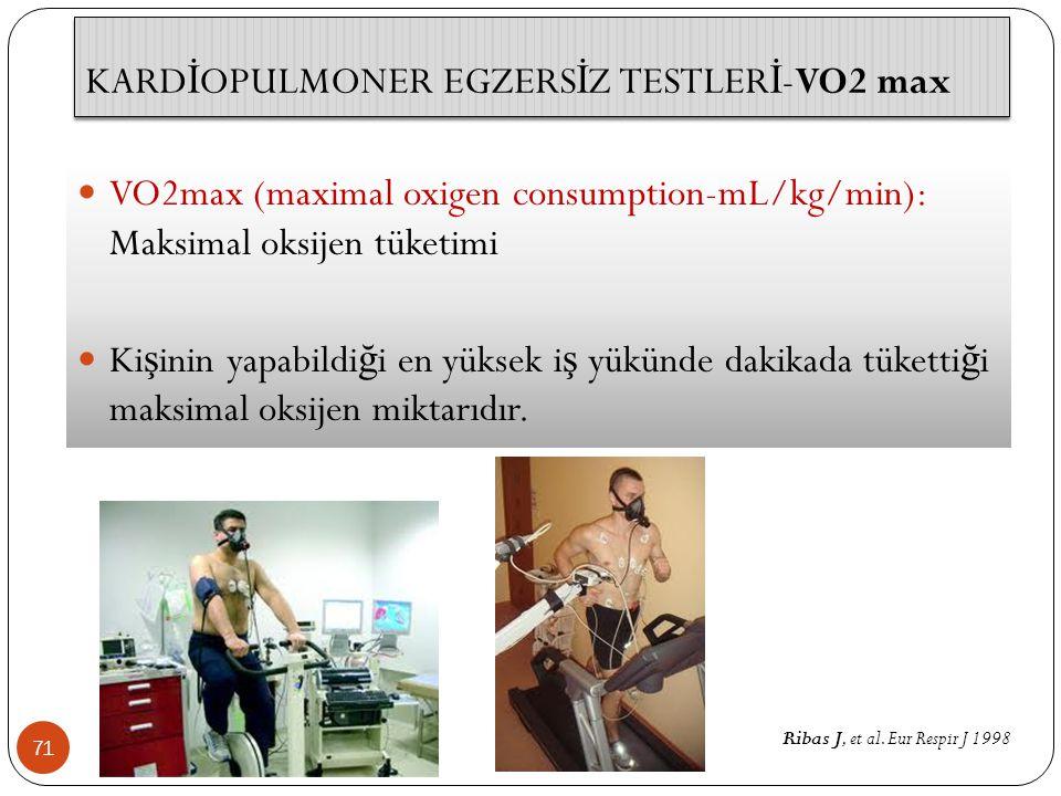KARD İ OPULMONER EGZERS İ Z TESTLER İ -VO2 max 71 VO2max (maximal oxigen consumption-mL/kg/min): Maksimal oksijen tüketimi Ki ş inin yapabildi ğ i en