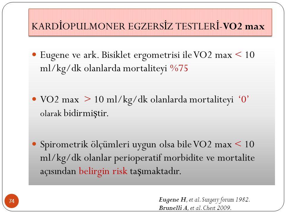 74 Eugene ve ark. Bisiklet ergometrisi ile VO2 max < 10 ml/kg/dk olanlarda mortaliteyi %75 VO2 max > 10 ml/kg/dk olanlarda mortaliteyi '0' olarak bidi