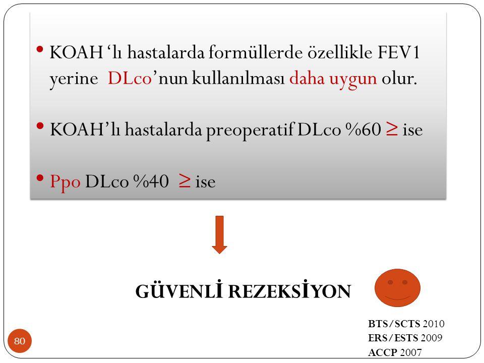 80 KOAH 'lı hastalarda formüllerde özellikle FEV1 yerine DLco'nun kullanılması daha uygun olur. KOAH'lı hastalarda preoperatif DLco %60 ≥ ise Ppo DLco