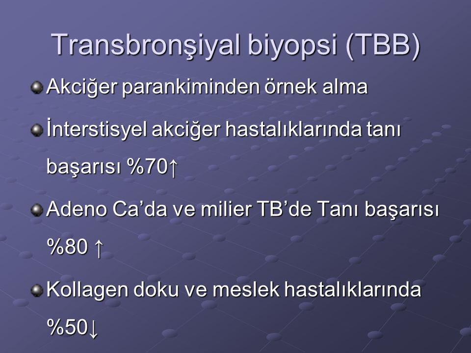 Transbronşiyal biyopsi (TBB) Akciğer parankiminden örnek alma İnterstisyel akciğer hastalıklarında tanı başarısı %70↑ Adeno Ca'da ve milier TB'de Tanı başarısı %80 ↑ Kollagen doku ve meslek hastalıklarında %50↓