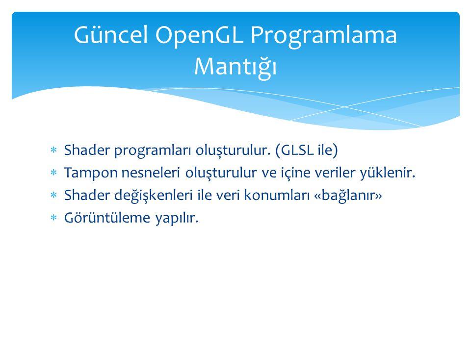  Shader programları oluşturulur.