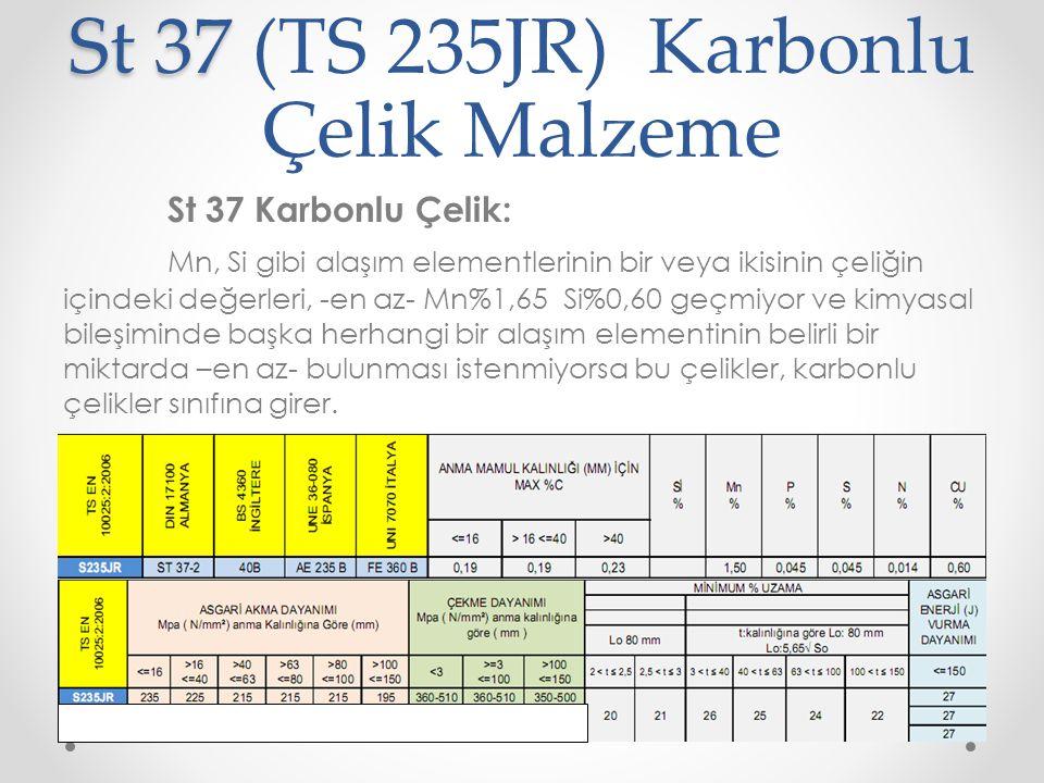 St 37 St 37 (TS 235JR) Karbonlu Çelik Malzeme St 37 Karbonlu Çelik: Mn, Si gibi alaşım elementlerinin bir veya ikisinin çeliğin içindeki değerleri, -e